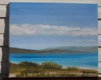 "Marathonas, a view of the beach - Original oil painting on canvas - Size 9.8"" - 11.8"""