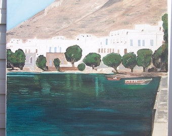 "Sifnos Port Greek Island - Original oil painting on canvas - Size 21.6"" x  17.7''"