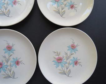 """Mid Century Dinner Plates // Vintage Steubenville China Set of Four (4) Dishes """"Fairlane"""" Pattern Aqua Turquoise Blue and Pink Housewarming"""