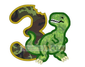 Dinosaur Jurassic Number 3 Birthday Digital Machine Embroidery Applique Design