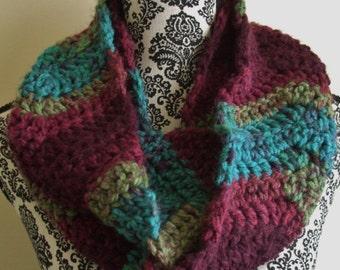 Red & Teal Infinity Scarf - Crochet Chevron Loop