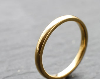 2mm dainty wedding ring, made from recycled 18ct yellow gold, featuring D-shape profile and shiny finish - handmade to order