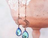 Copper Moon Earrings Montana Blue Crystal Boho Gypsy 'Night Song'
