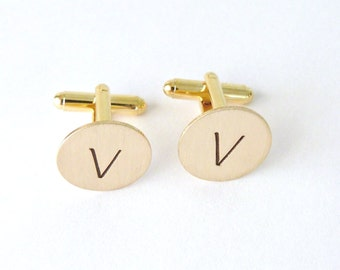 Mens Gold Cuff Links Monogrammed Circle CuffLinks Groomsmen Gift Groom Gift Custom Bridal gift Custom Cufflinks Father of the Bride
