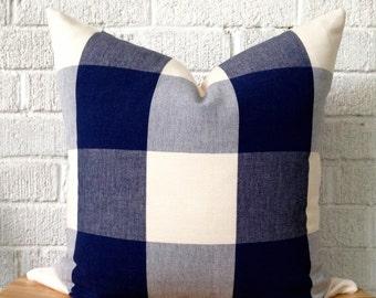 Navy Cream Buffalo Check Pillow Cover, 18 inch plaid, checkered