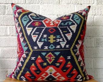Kilim Pillow Cover, Tribal, Aztec, Boho, 20 inch square
