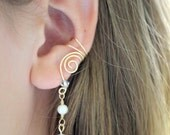 EAR CUFFS Pair of 14K Gold Filled Ear Cuffs with Genuine Fresh Water Pearls and Clear Glass Crystals June Birthstone