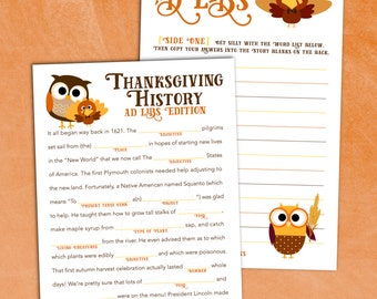 Printable Thanksgiving Madlib - Holiday Party Game [Instant Download]