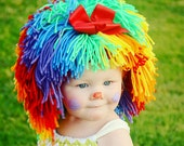 Clown Costume Halloween Costumes Baby Hat Baby Girl Clown Wig Pageant Clothes Colorful Wig Toddler Costume Photo Prop Dress Up Clothes Kids