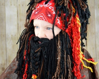 Pirate Beard Wig Boy Halloween Costumes Pirate Headpeice Photo Prop Pirate Beanie