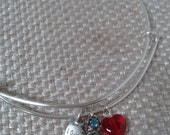 Adjustable Silver Wire Charm Bracelet with Red Heart Multi Color Rhinestone and Love Charms