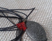 Historical Victorian Style Folding Eitched Locket with Small Red Glass Heart Charm Pendant with Black Ribbon Necklace