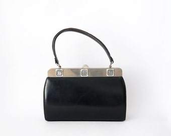 Vintage black leather 50s women handbag with egyptian details