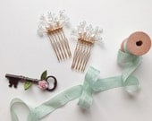 Light Blue Crystal Branch Combs - 'Anna' - hand wired Swarovski crystal and freshwater pearls