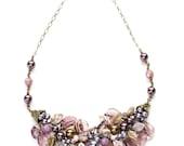 Amethyst Purple Bridal Necklace, Purple Floral Necklace, Purple Statement Necklace with leaves, Botanical Jewelry, Autumn Jewelry