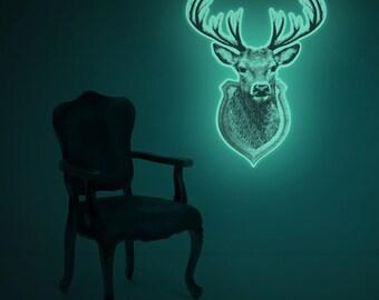 Luminous deer trophy wall-sticker, ONE OF A KIND (glow in the dark hunting trophy wall-sticker)
