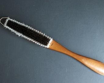 Vintage Shoe Horn and Clothes Brush Wood Made in Japan Fleur De Lis 1950s