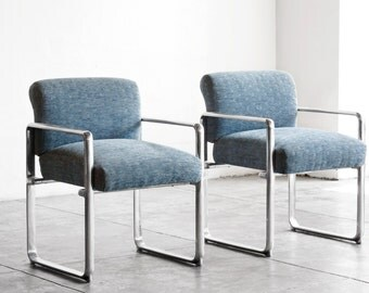 Pair of 1960s Modern Geometric Armchairs, Refinished Polished Aluminum