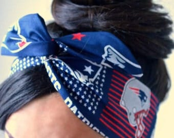 Patriots Dolly bow head bands, head band, hair bow