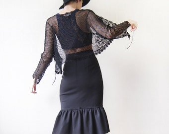 Black sheer fishnet mesh crochet cardigan bolero crop sweater top