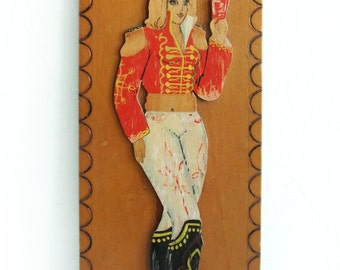 Vintage Wooden Picture Girl Hussar, Wooden Wall Art, Retro Wall Decor, Beautiful Women in Uniform