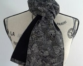 Silk and wool scarf created with vintage kimono fabric - black and silver white village scene