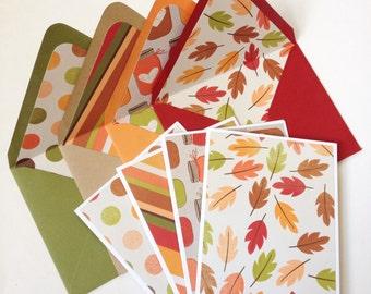 Set of 4 // Blank Note Card Set // Blank Stationery // Fall Note Cards // Autumn Note Cards // Fall Stationery // Lined Envelopes