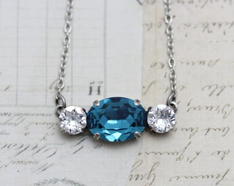 Teal Bridesmaid Necklaces Set of 3 4 5 6 7 8 9 10  Oval Round Teal Necklaces Turquoise Bridesmaid Jewelry Personalized Box Indicolite