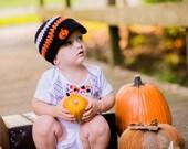 Halloween Baby Boy Newsboy Hat with Pumpkin Button - Newborn thru 4T - Halloween Photo Prop, Black Orange White, Candy Corn, Halloween hat