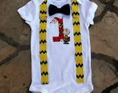 Baby Boys Bow Tie Bodysuit - Charlie Brown Snoopy with Yellow and Black Suspenders -  First Birthday, Photo Prop, Tie Suspender, Cake Smash