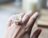 Cherry blossom ring - sculptural ring - sakura jewelry - flower jewelry - pink flower ring - delicate jewelry - pastel wedding - floral ring