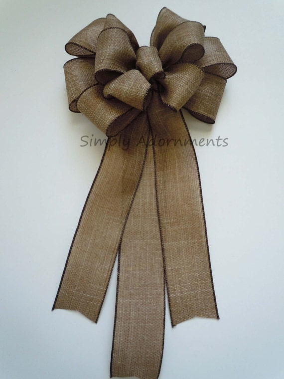 Rustic Burlap Wedding Pew Bow Vintage Burlap Wedding Bow Rustic Burlap Church Aisle Pew Bow Rustic burlap Chair Bow