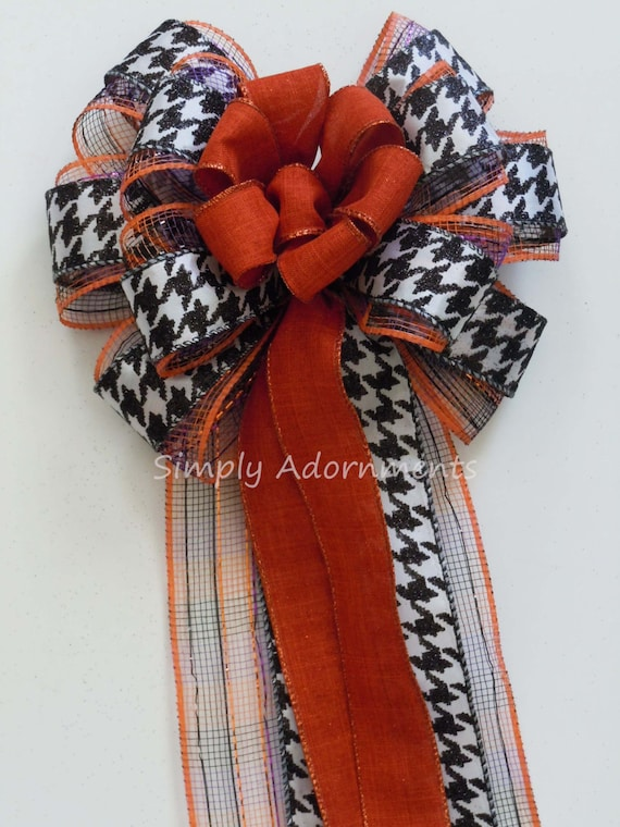 Orange Black Halloween Wreath Bow Trick or Treat Wreath Door Bow Houndstooth Fall Bow Black Orange Party Decoration Halloween Home Decor Bow