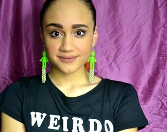 Glow in the Dark Alien Earrings with Chain