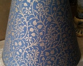 Empire Lamp Shade in Fortuny Fabric Granada Blue and Silvery Gold Round Lampshade - Handmade in Italy