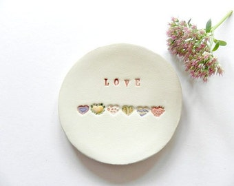 Love Ceramic Jewelry Dish,  Wedding Pottery Rainbow Hearts, Mother Trinket Dish , Colorful Ring Dish, Best Friends Dish, Sisters Gift