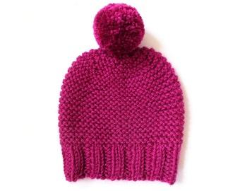 Hand knit pom pom beanie, pink beanie hat, chunky knit hat, womens beanie