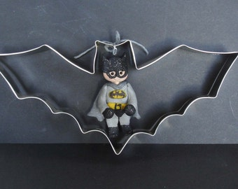 Superhero Costume Bat Metal Cookie Cutter Polymer Clay MIlestone Christmas Ornament  Cake Topper Super Hero Halloween Man