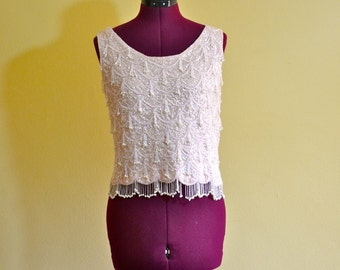 1960s Vintage Pale Pink Sequin and Beaded Sleeveless Top size S M bust 34