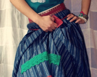 Silky Skirt with Cotton folk Apron,  unique design, Modern Frida Kahlo outfit by Zestria