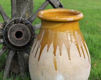 Splendid Large Planter Mustard glazed, Vintage French vase, Jar, Pottery