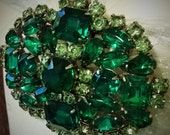 Medallion-shape EMERALD GREEN RHINESTONE Broach Pin-Prong Set Stones in Kelly, Lime, Evergreen
