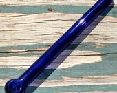 Long Gandalf Pipe in Cobalt Blue with Spotted Head - Handblown Glass