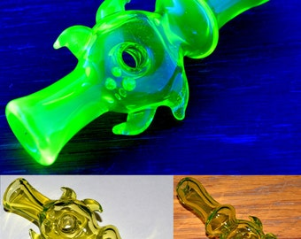 Trippy Illuminati Blacklight Chillum Pipe - Handblown Glass