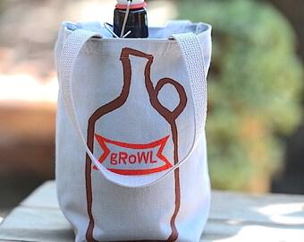 Growler Bag, Screen Printed Grey Canvas Tote, Growl