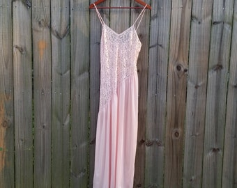 S Small Petite Vintage 70s Pale Pastel Pink Asymmetrical Lace Nylon Summer Spring Sheer Semi-Sheer Sexy Long Nightie Lingerie Nightgown