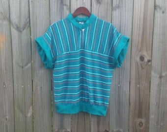 L XL Extra Large Plus Size Vintage 70s 80s Turquoise Red White Striped Rad Indie Hipster Short Sleeve Spring Summer Blouse Shirt Top