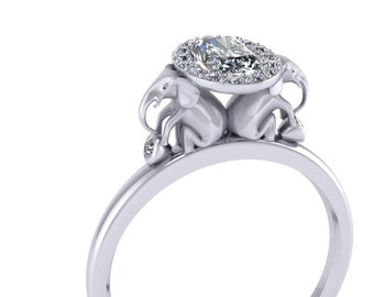 Diamond Halo Elephant Engagement Ring with Half Carat Radiant cut Diamond