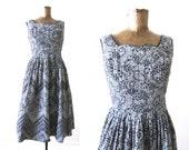Vintage Sundress / 60s Dress / Retro Sundress / 1960s Clothing / Black Gingham Plaid Eyelet Dress