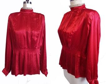 Vintage Nilani Pleated Red Satin Blouse w Full Pleated Sleeves Christmas blouse Valentine's blouse red blouse vintage blouse pleated blouse